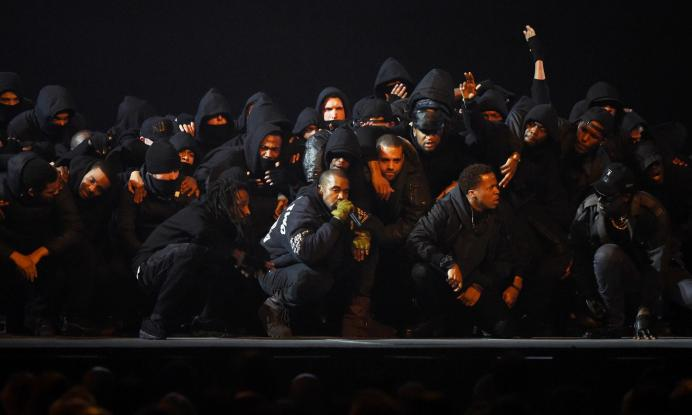 LONDON, ENGLAND - FEBRUARY 25:  Kanye West performs on stage during the BRIT Awards 2015 at The O2 Arena on February 25, 2015 in London, England.  (Photo by Gareth Cattermole/Getty Images)